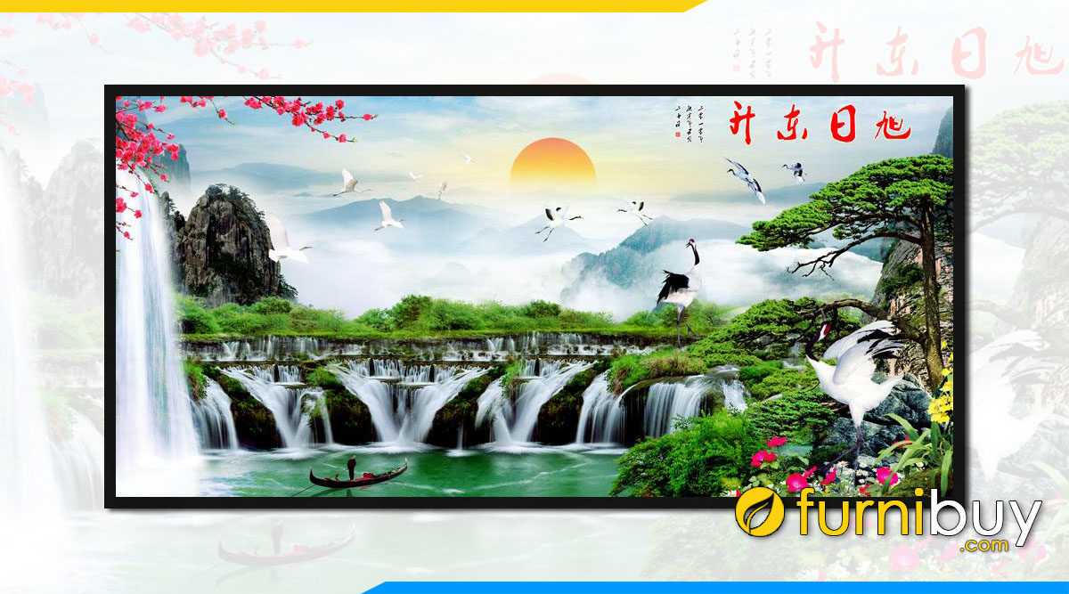 Tranh mua xuan song nui thac nuoc chay trung quoc fb st125