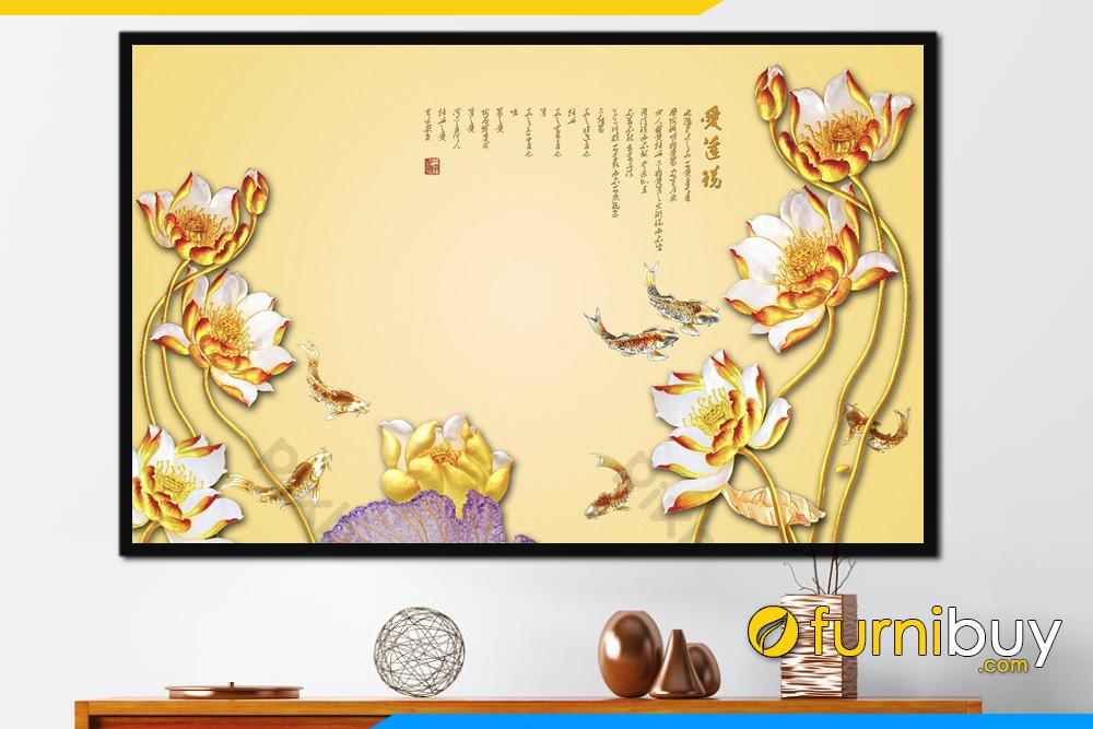 Tranh treo tuong phong thuy ca chep hoa sen mau vang fBCNQH 116