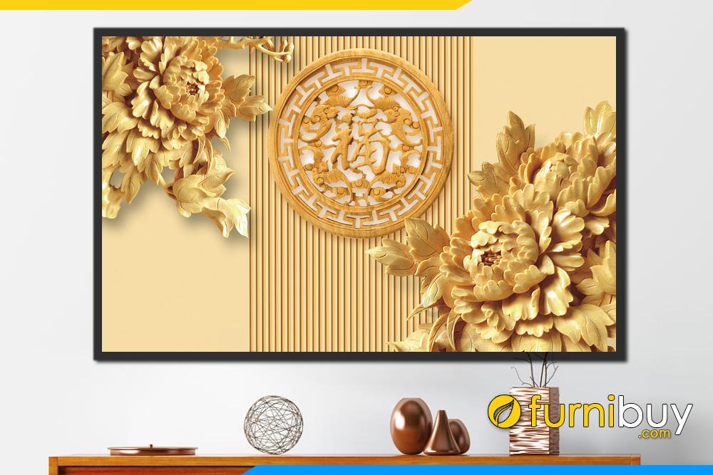 TRanh hoa mau don vang chu Phuc 3D sang trong y nghia FB PLT 111