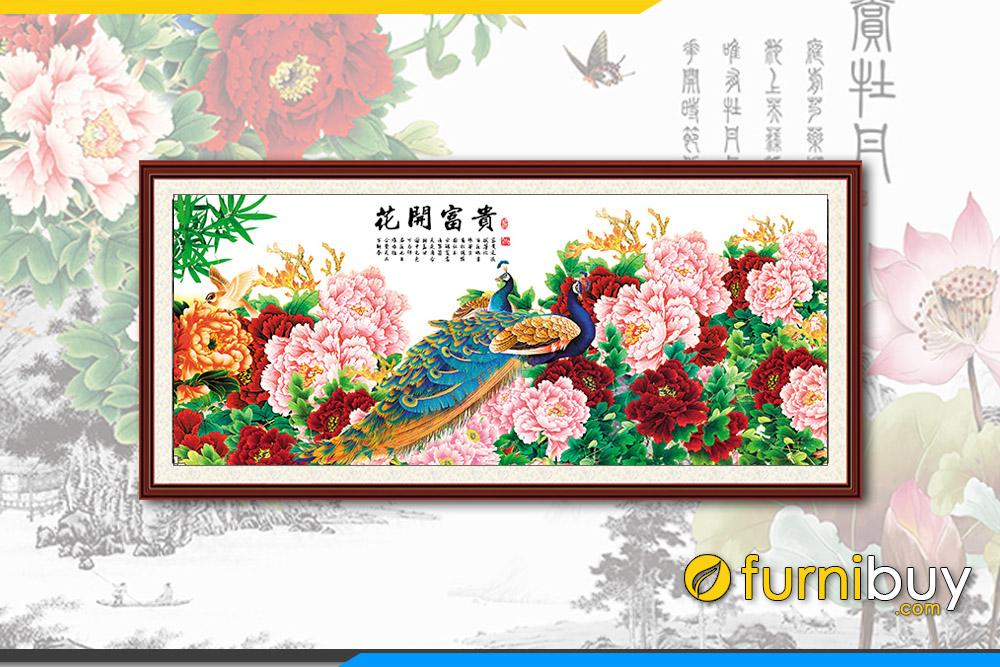 Tranh chim cong hoa mau don treo phong khach hien dai fb pqmd110