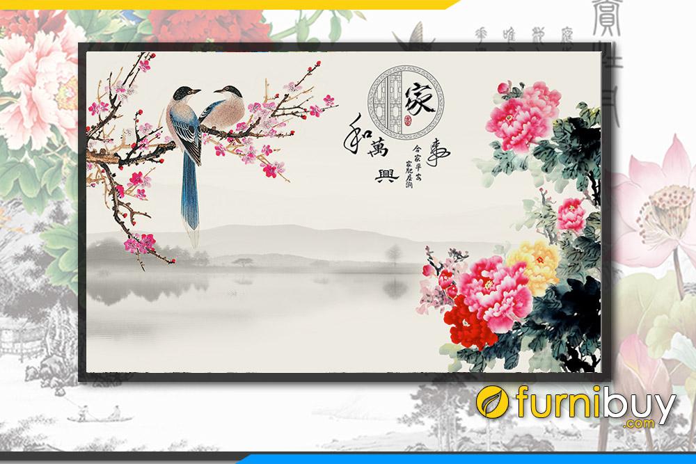 Tranh doi chim en tren canh dao mùa xuan don tai loc FB PQMD 122