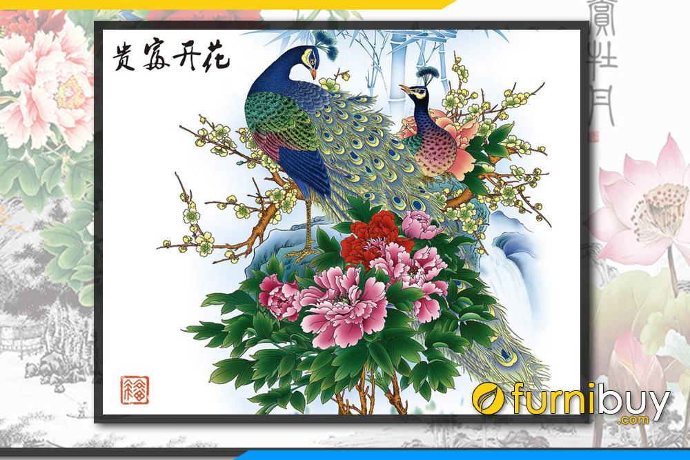 Tranh chim cong mau don treo tuong dep y nghia FB PQMD 138