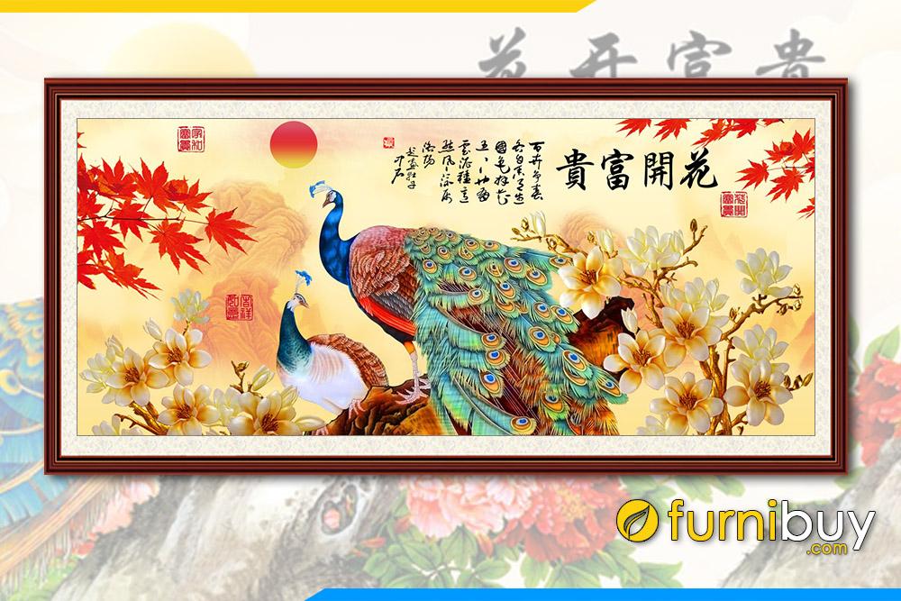 Tranh vo chong chim cong dung cạnh canh lan phu quy mua thu FB PQMD 140