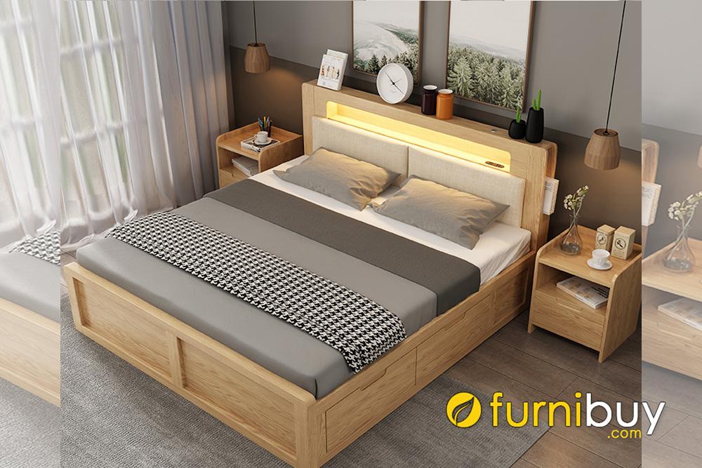 Giường gỗ sồi dạng hộp tiện lợi