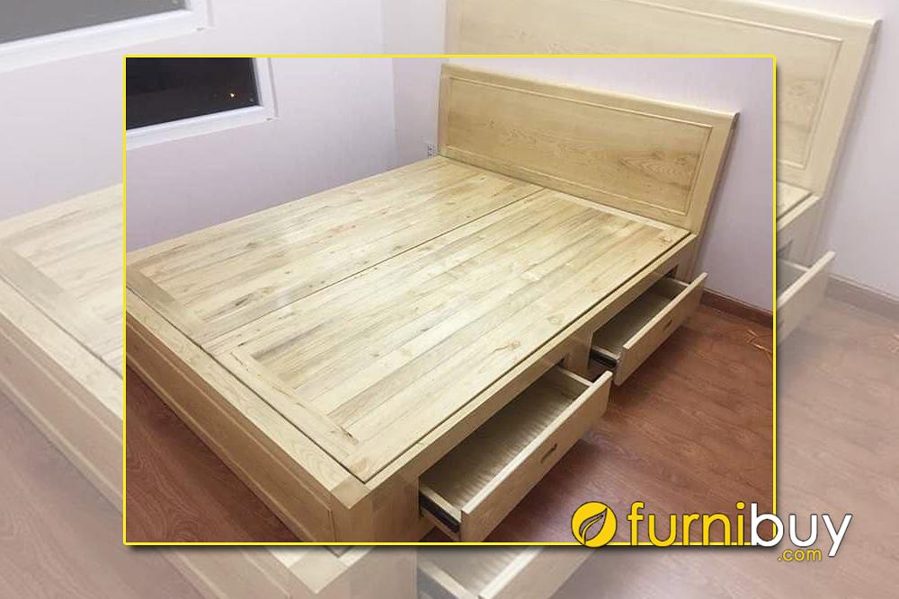 Giường gỗ sồi Nga dạt phản 2 ngăn kéo