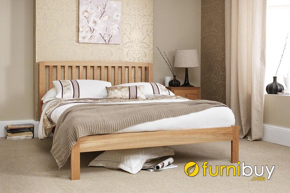 Giường gỗ sồi nga 2m chân cao đơn giản