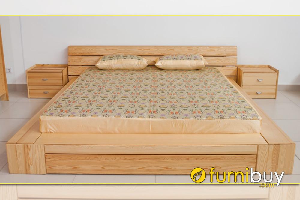 Mẫu giường bệt kiểu Nhật kích thước 2m 2m2 gỗ sồi nga