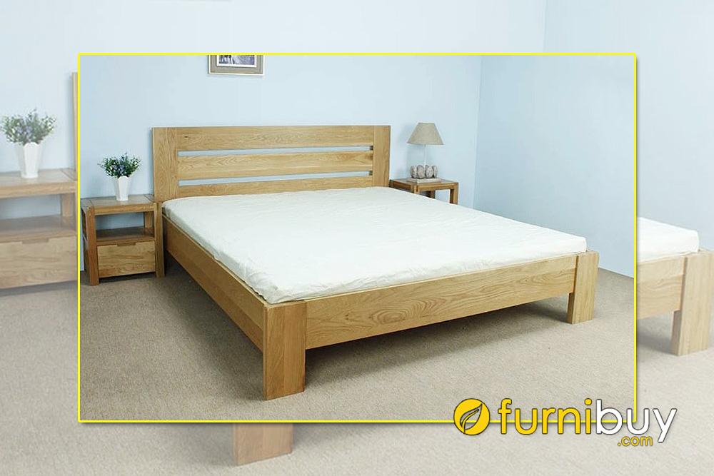 Mẫu giường gỗ rộng 2m chân thấp kiểu Nhật