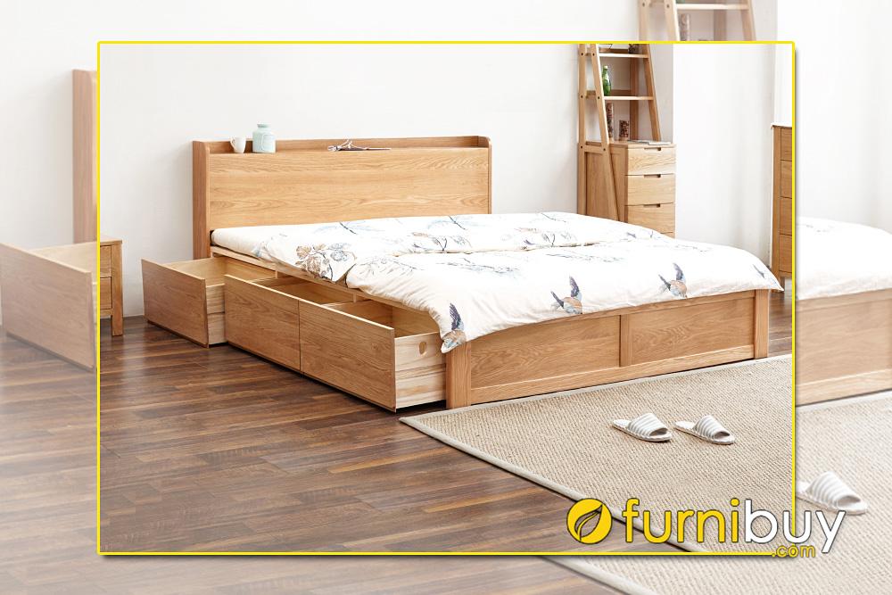 Mẫu giường gỗ sồi bệt dạng hộp