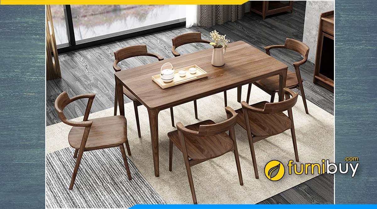 Hình ảnh bộ bàn ăn 6 ghế gỗ óc chó đẹp chung cư
