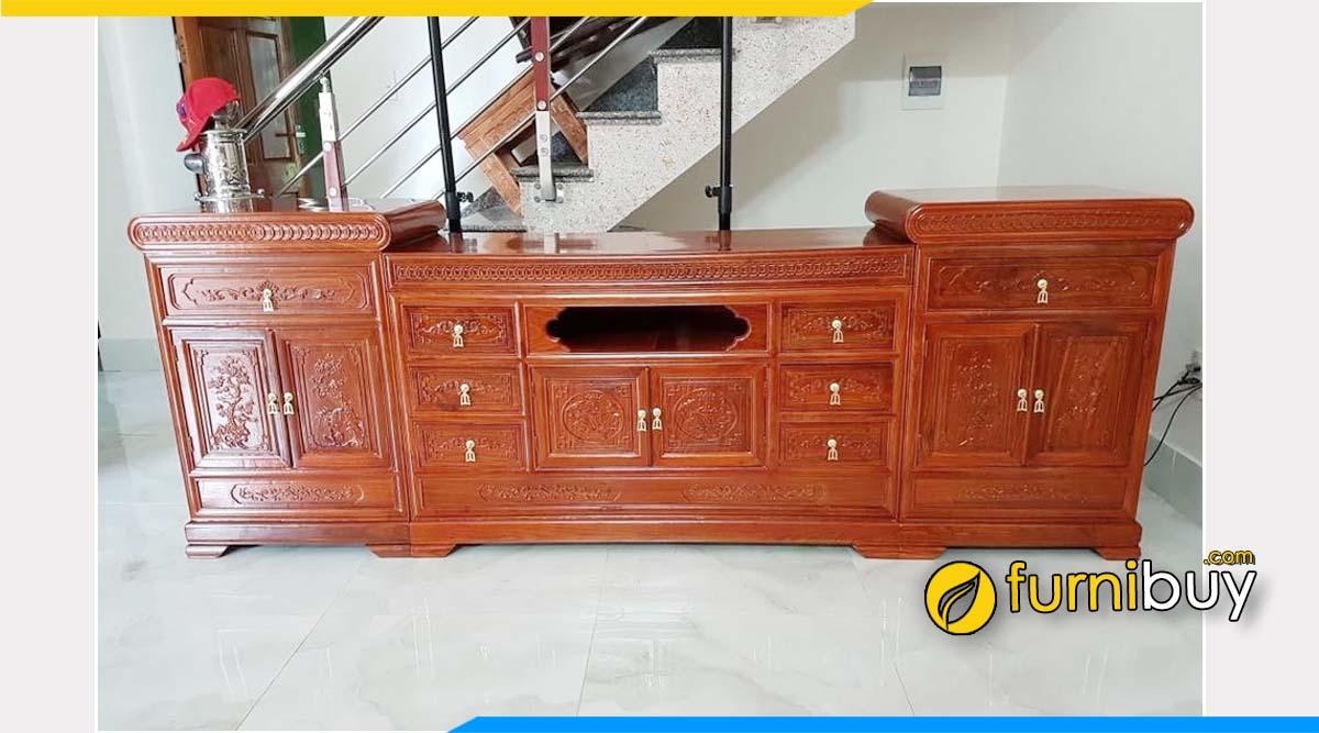 Hình ảnh Mẫu kệ tivi gỗ hương đá phòng khách