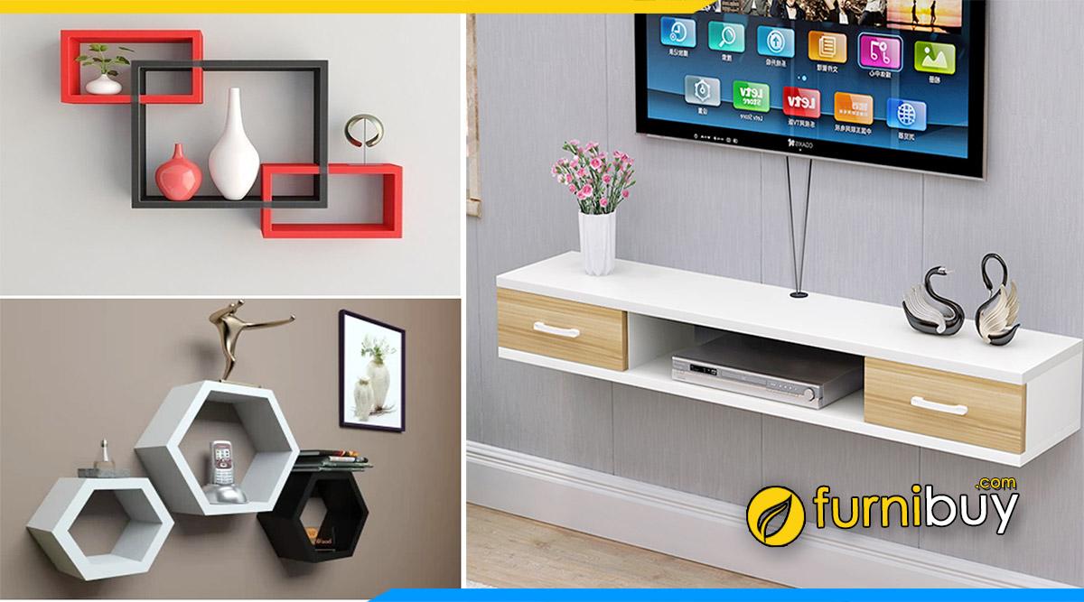 Hình ảnh kệ tivi treo tường thông minh kết hợp trang trí đẹp