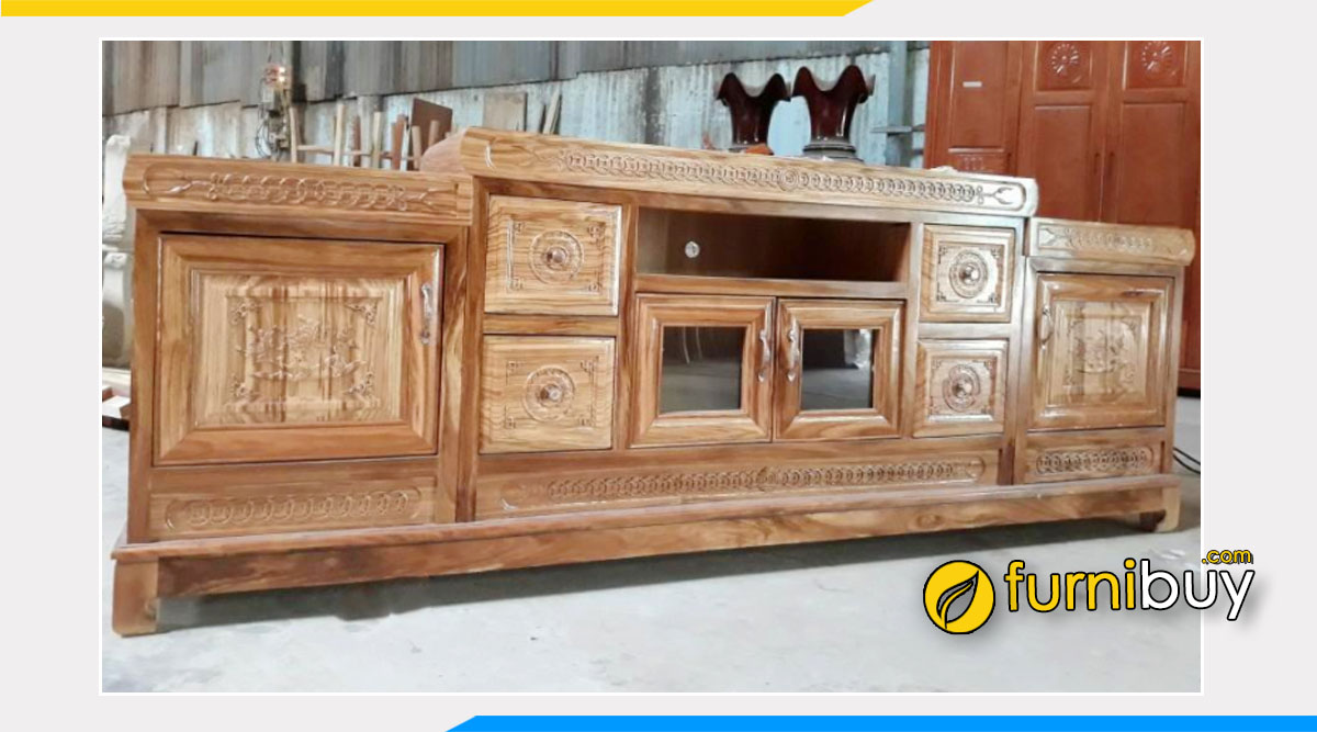 Hình ảnh Mẫu kệ tv gỗ hương xám 2m2 sang trọng