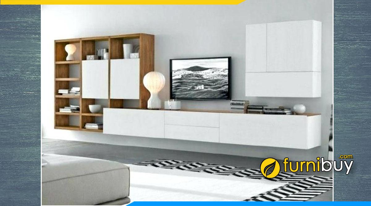 Hình ảnh kệ tv treo tường màu trắng kết hợp giá sách