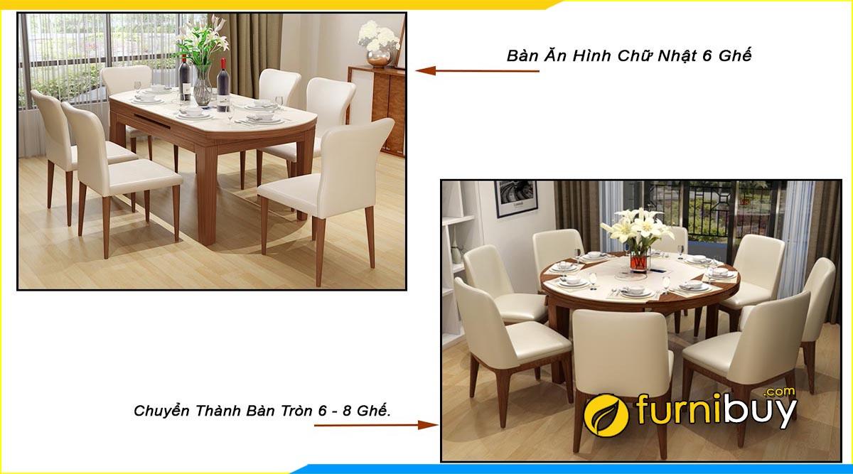 Hình ảnh mẫu bàn ăn 6 ghế chữ nhật gấp gọn nhập khẩu
