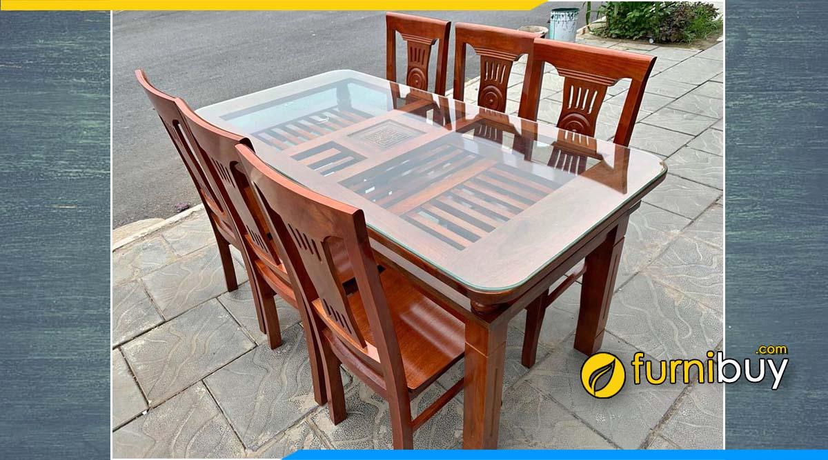 Hình ảnh mẫu bàn ăn 6 người gỗ xoan đào 2 tầng kính