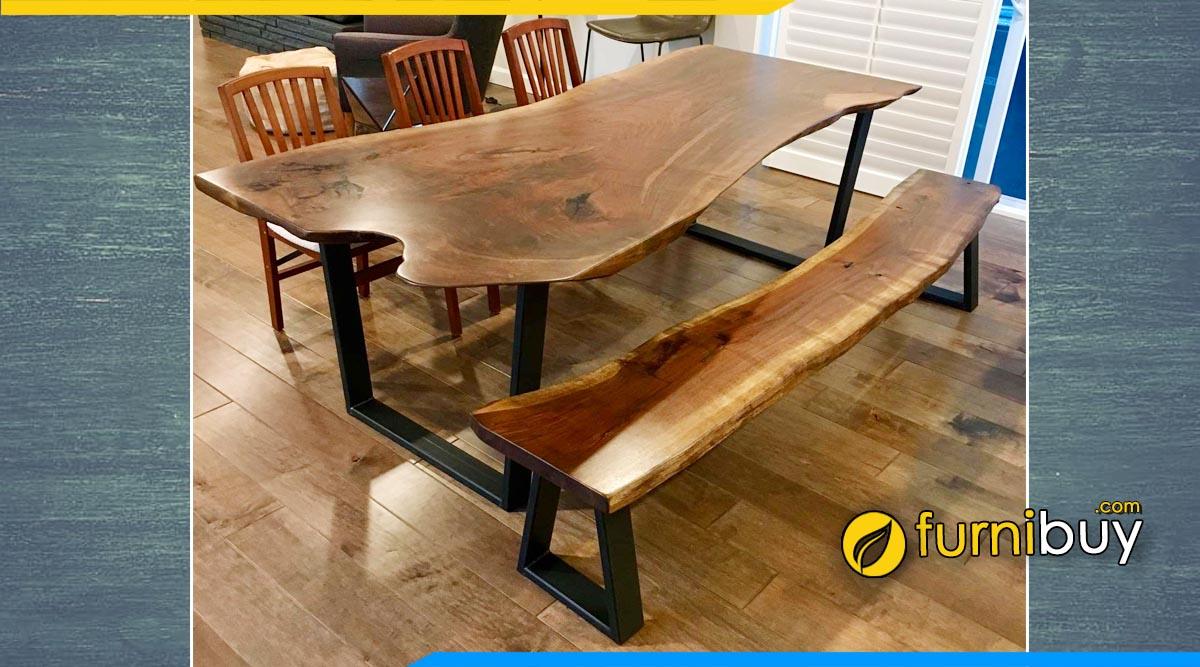 Hình ảnh Mẫu bàn ăn chân sắt mặt gỗ tự nhiên cao cấp