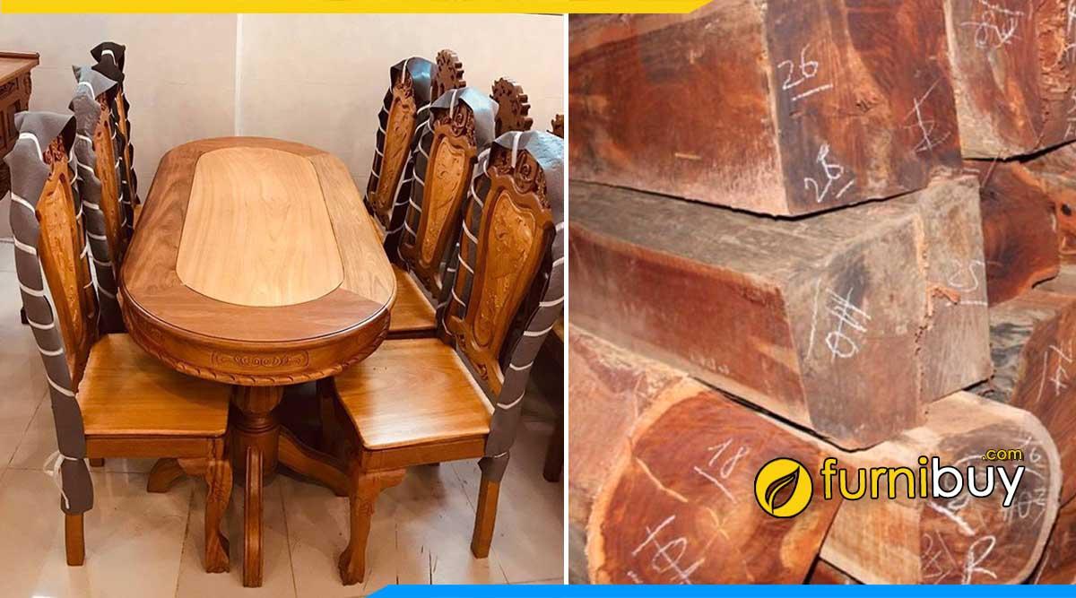 Hình ảnh Mẫu bàn ăn gỗ căm xe 6 ghế bầu dục đẹp