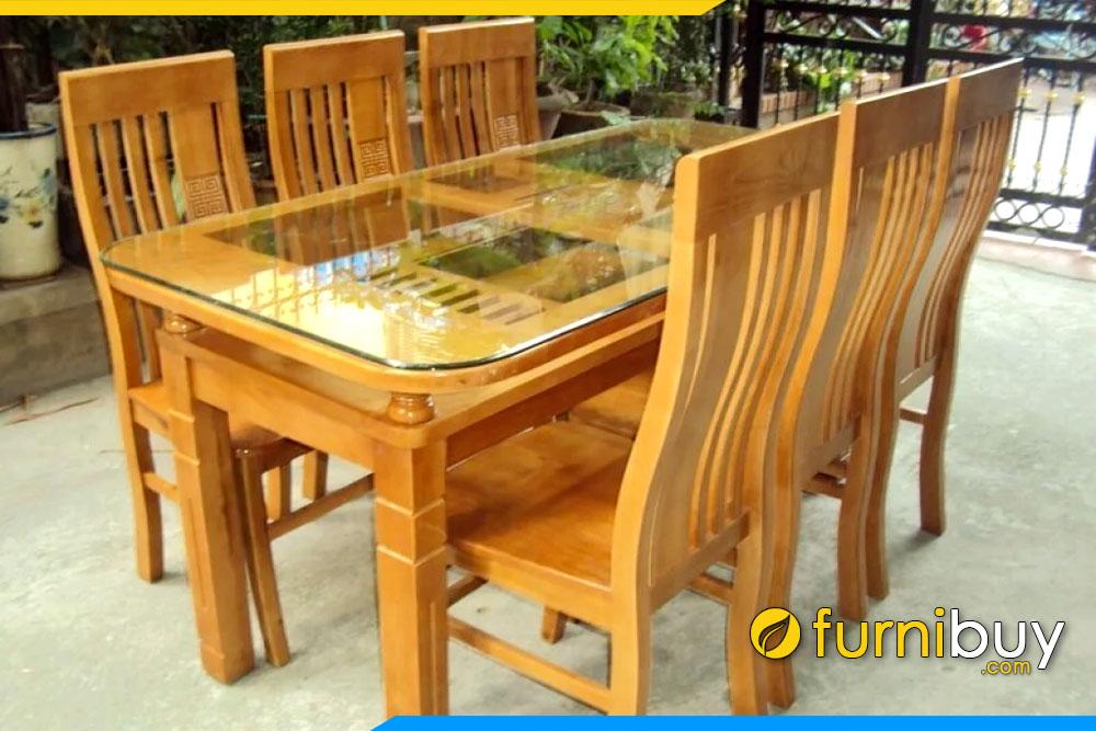 Hình ảnh mẫu bàn ăn gỗ sồi 6 ghế chữ nhật đẹp nhất