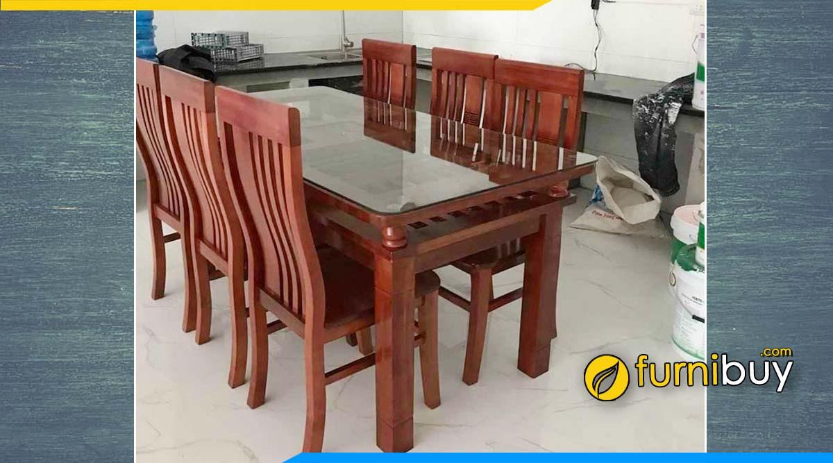 Hình ảnh mẫu bàn ăn gỗ xoan đào 6 ghế mặt hở 2 tầng kính.