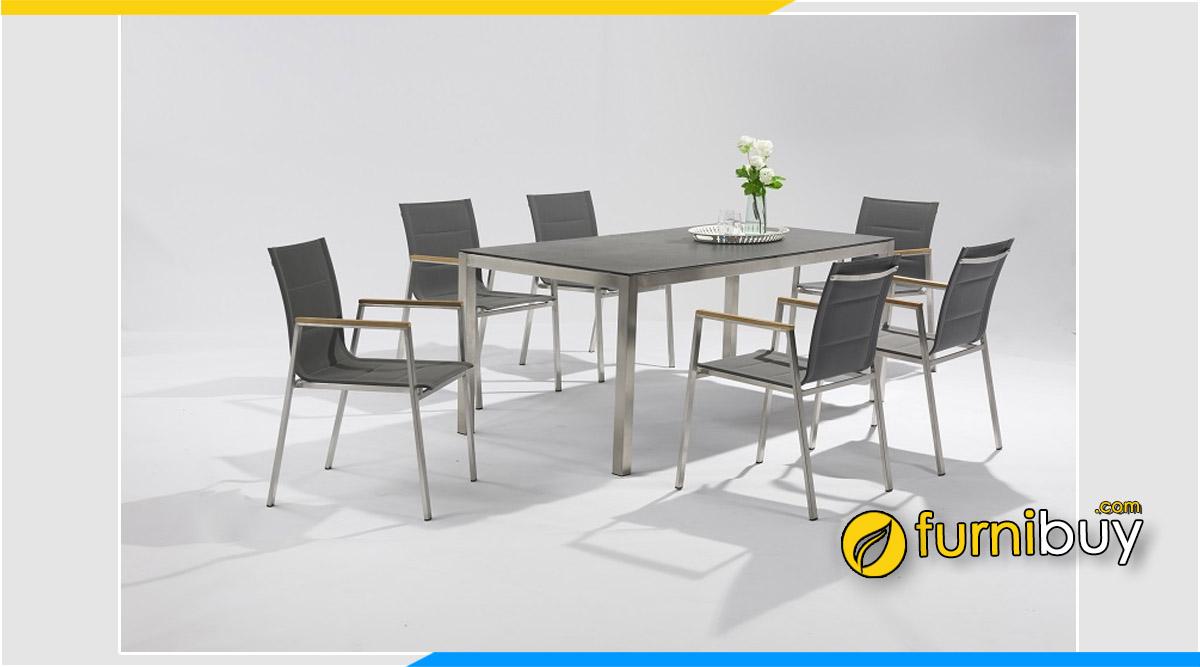 Hình ảnh mẫu bàn ăn Inox 6 ghế đẹp