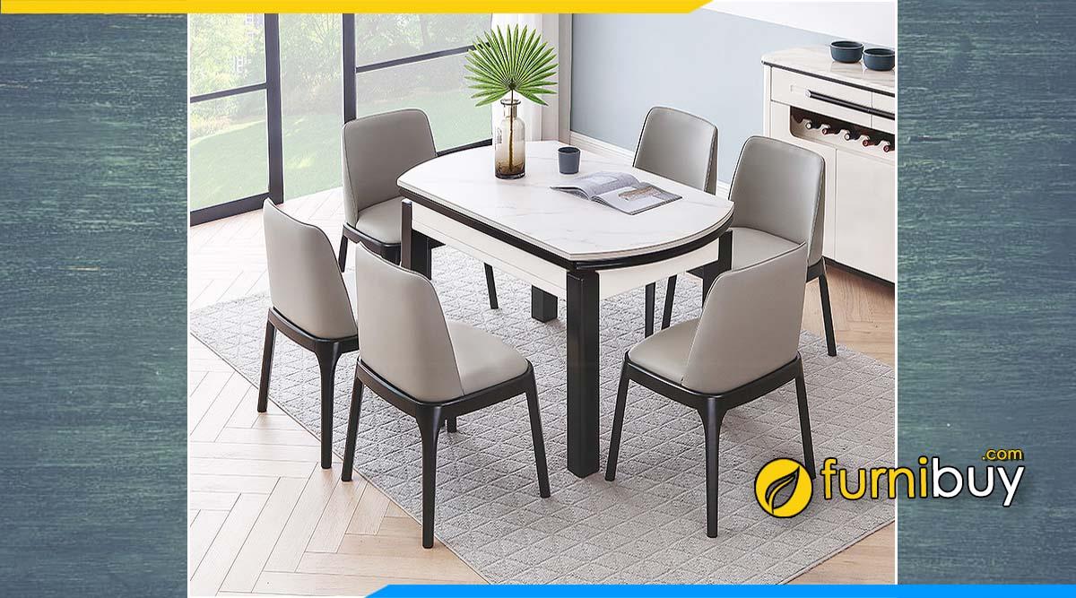 Hình ảnh mẫu bàn ăn nhập khẩu Đài Loan mặt đá 6 ghế