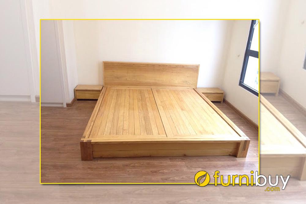 Giường gỗ sồi Nga bệt sàn 2m dài 2m2
