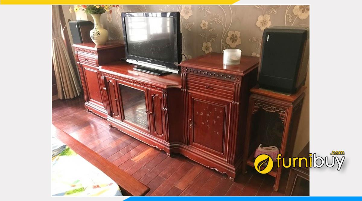 Hình ảnh mẫu kệ tivi gỗ hương đỏ đẹp cao cấp