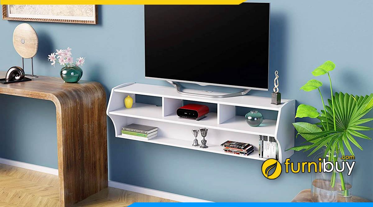 Hình ảnh mẫu kệ tv treo tường màu trắng phòng ngủ