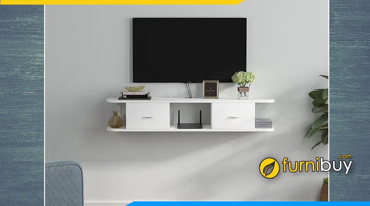 Hình ảnh mẫu tủ tivi treo tường màu trắng đơn giản