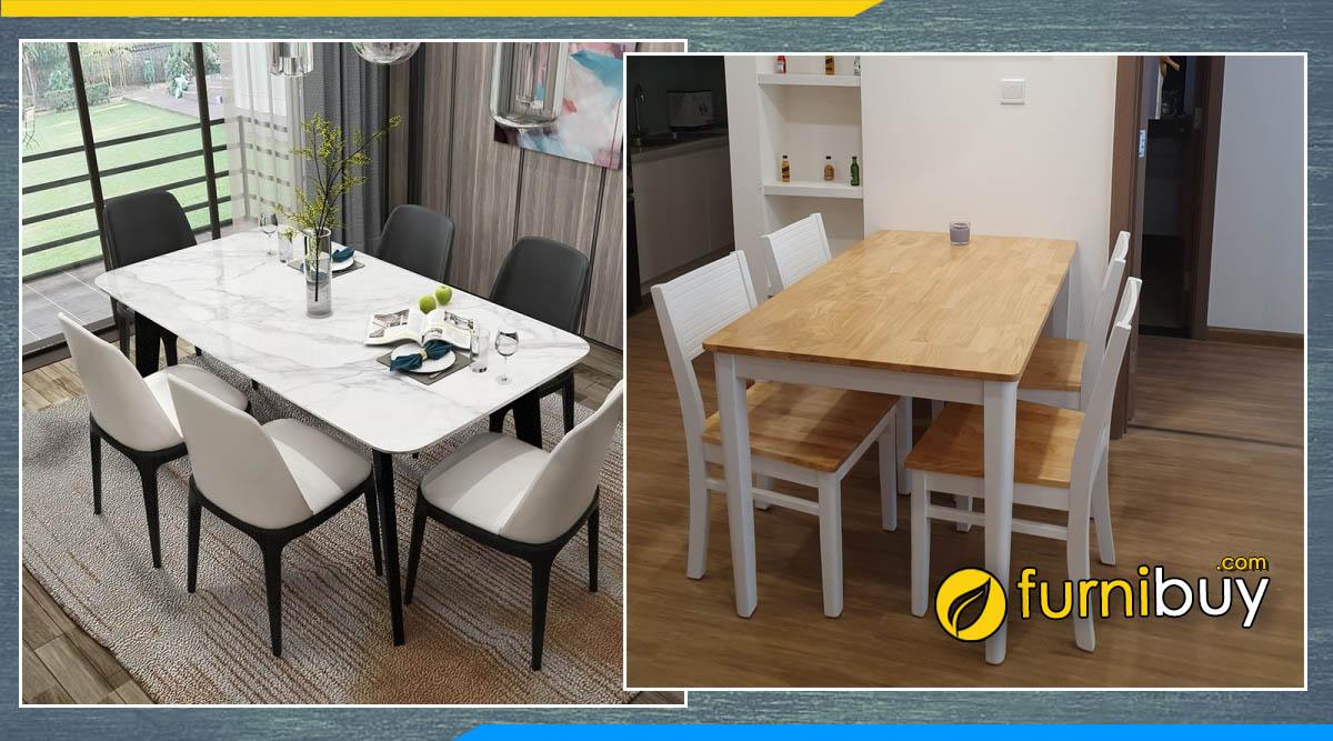 Nên mua bàn ăn mặt đá hay mặt gỗ cho phòng bếp