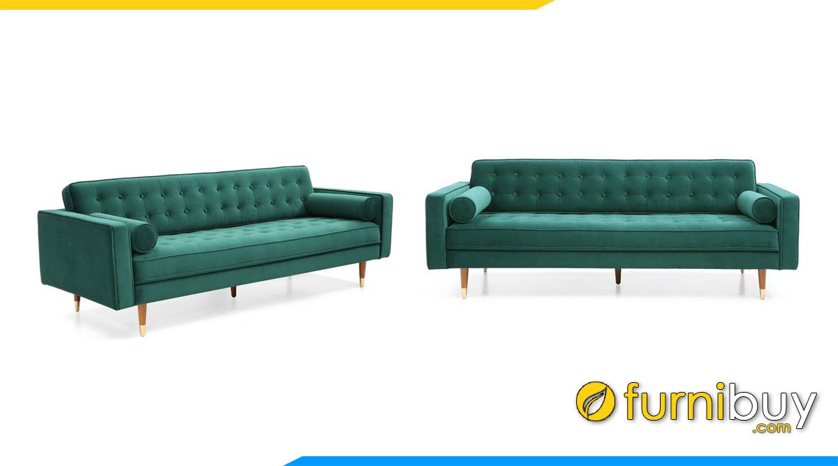 sofa vang dai boc ni mau xanh la cay