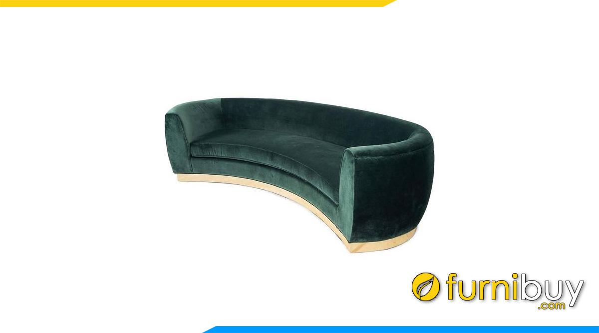 sofa goc tron boc ni nhung mau xanh la