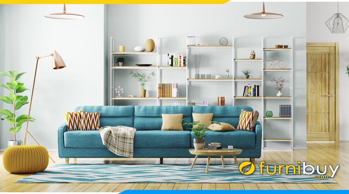 sofa phong khach chung cu hien dai mau xanh pastel