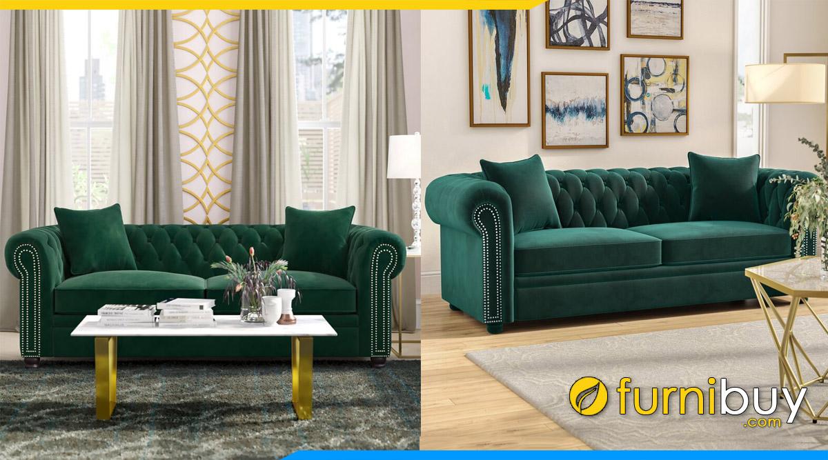 sofa phong khach mau xanh la dang vang phong cach tan co dien