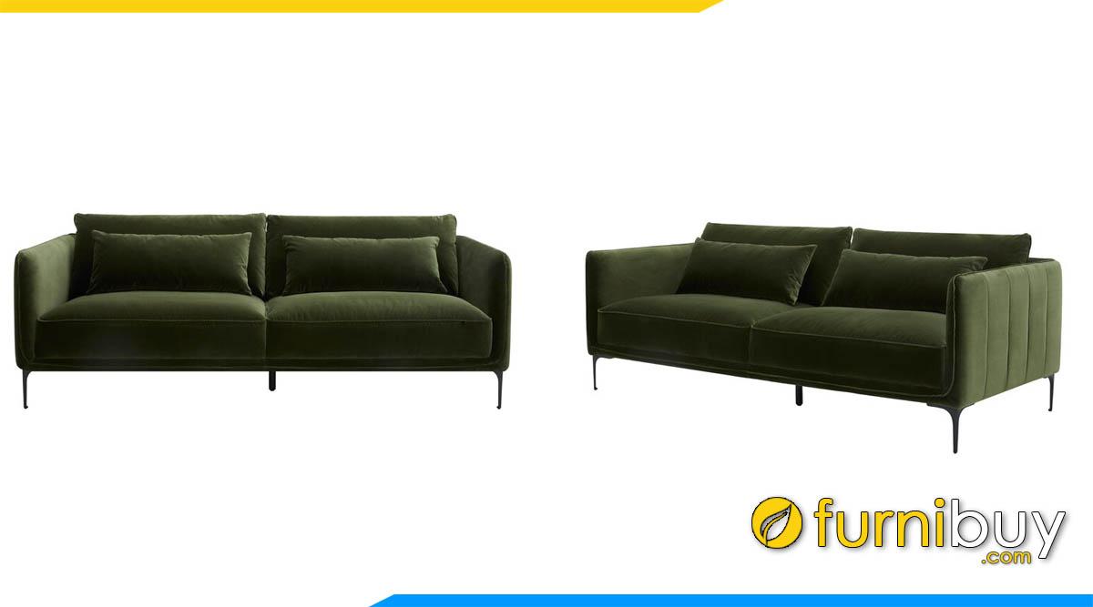 sofa vang 2 cho ngoi mau xanh reu tham