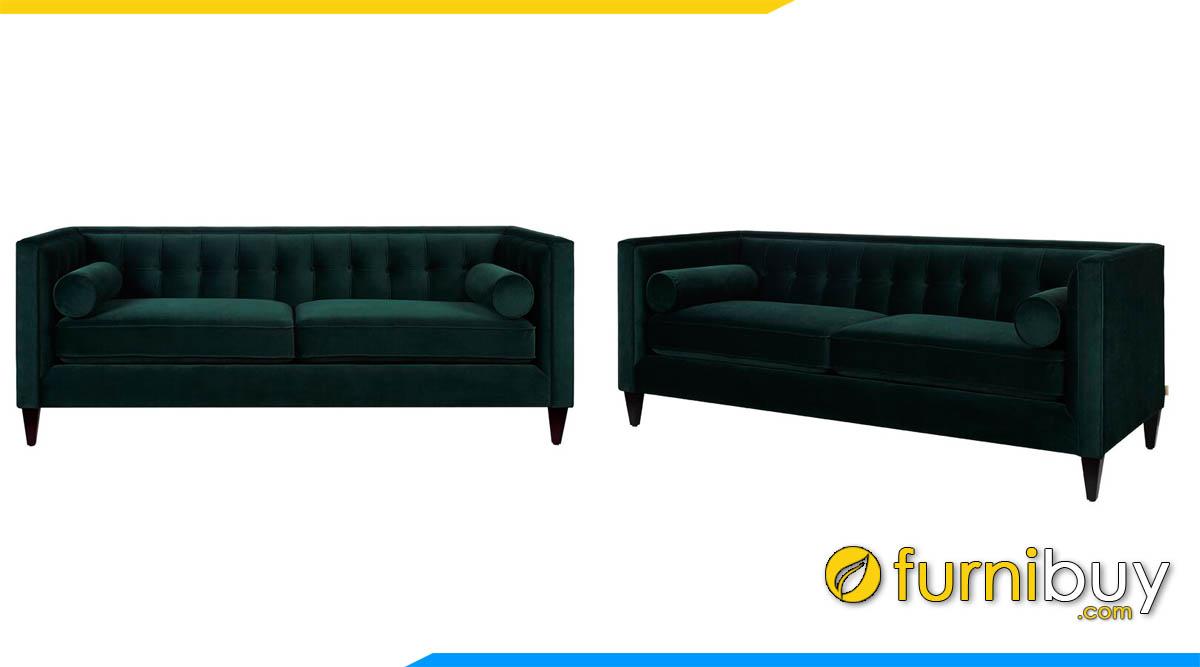 sofa vang 2 cho ngoi mau xanh tham