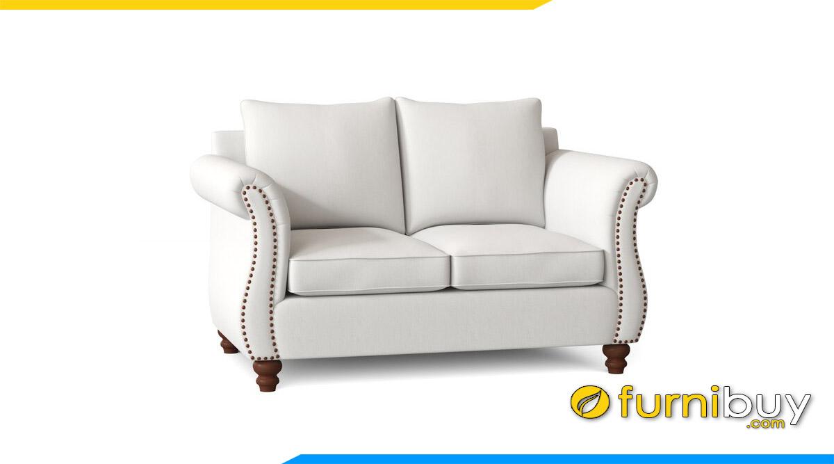 sofa vang 2 cho ngoi tay tua uon mau trang