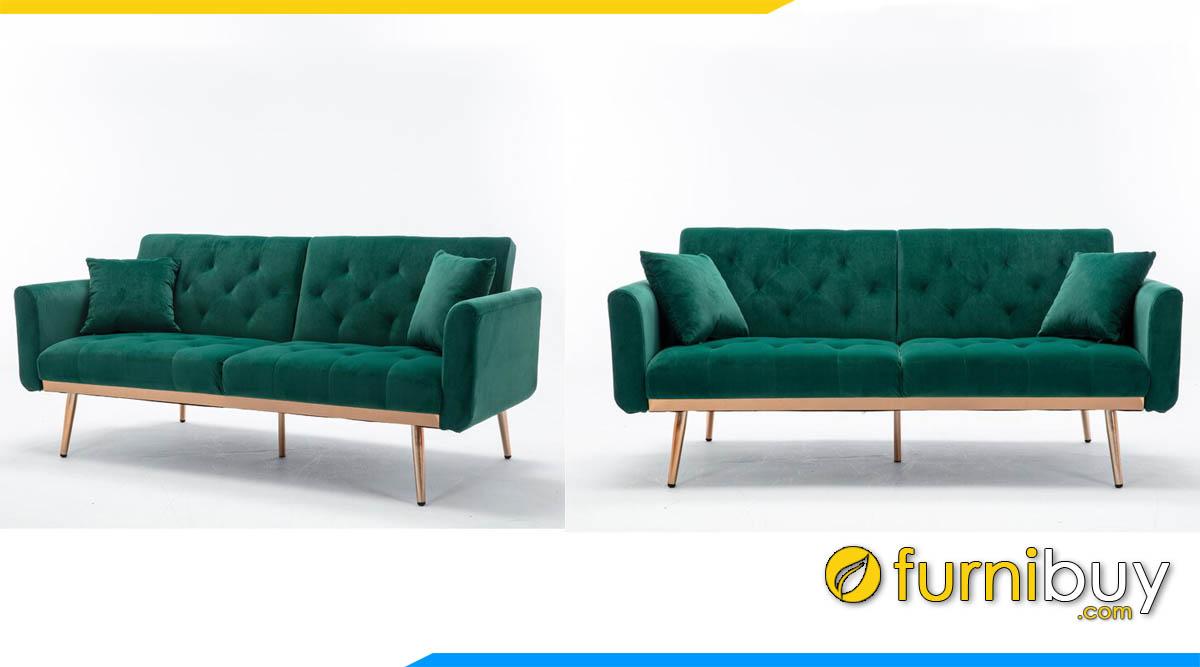 sofa vang 2 cho noi vien go mau xanh la