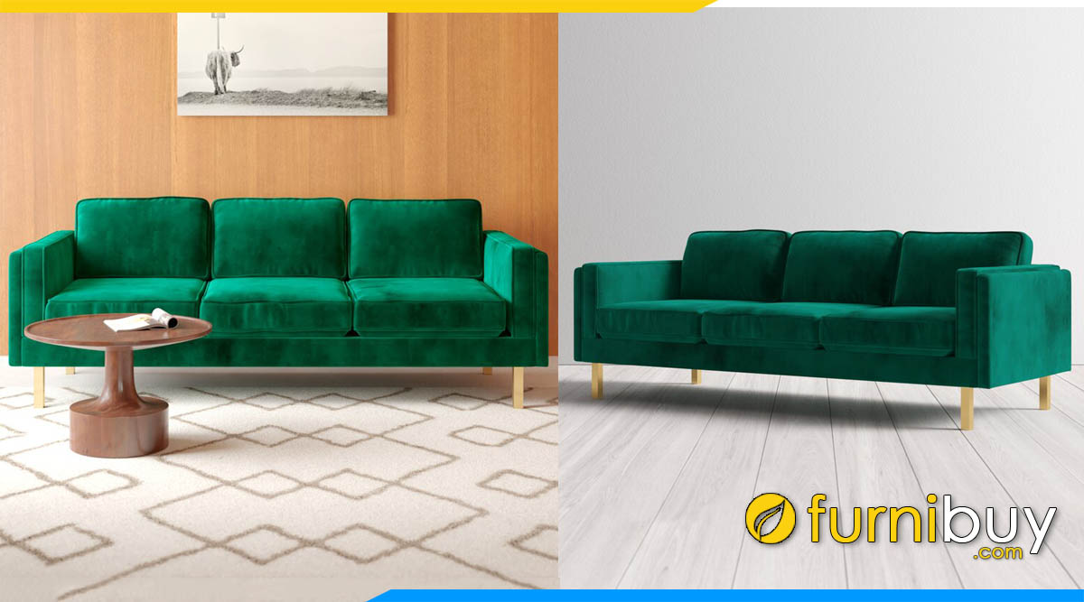 sofa vang 3 cho ngoi boc ni mau xanh
