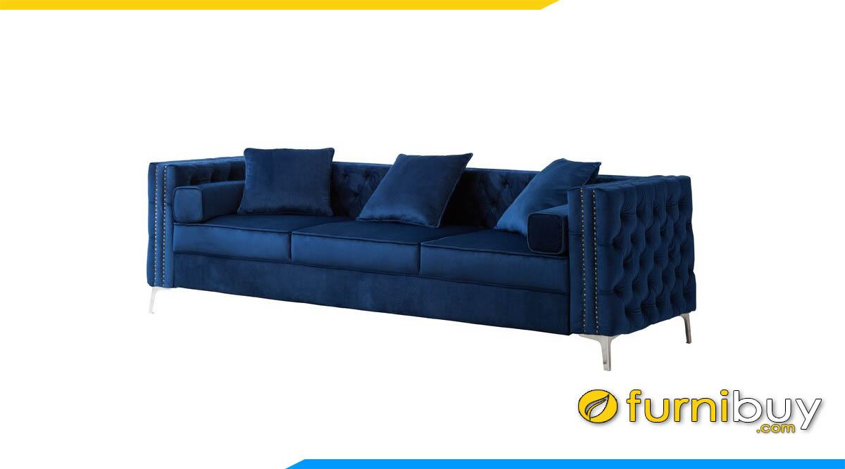 sofa vang 3 cho ngoi mau xanh tahn chan de sat