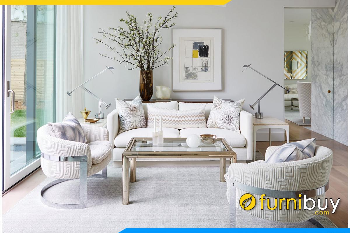 sofa vang dep mau trang ke phong khach
