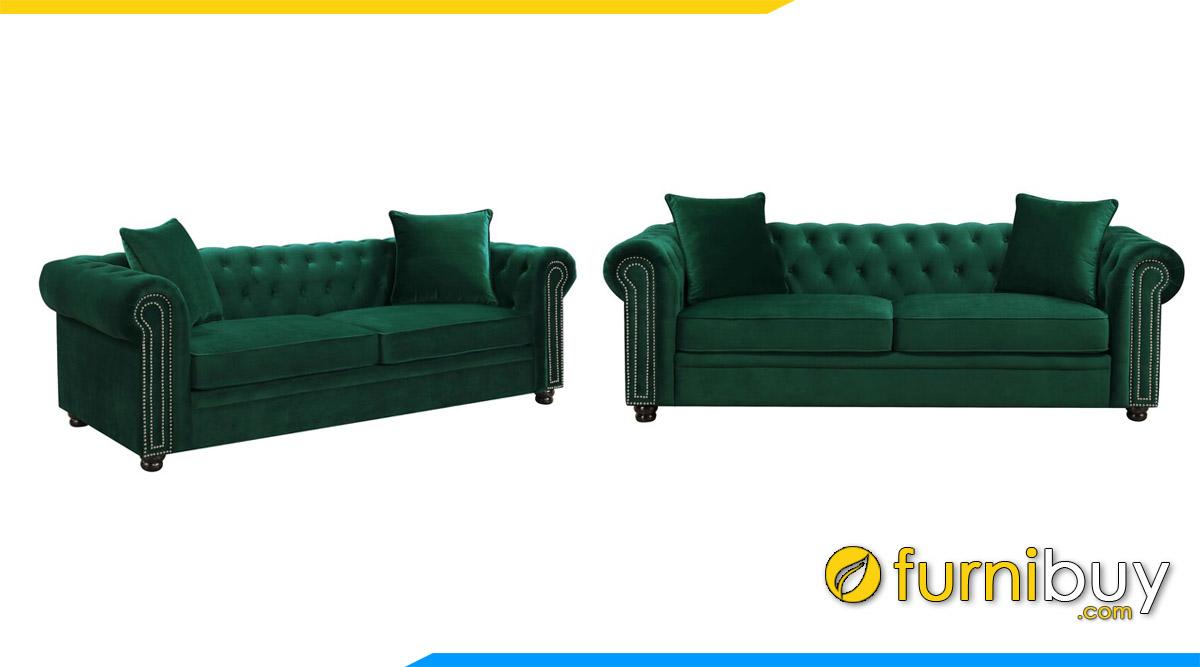 sofa vang tan co dien mau xanh la cay