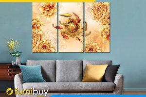 Tranh cá chép hoa mẫu đơn vàng treo tường phòng khách hiện đại AmiA 1534