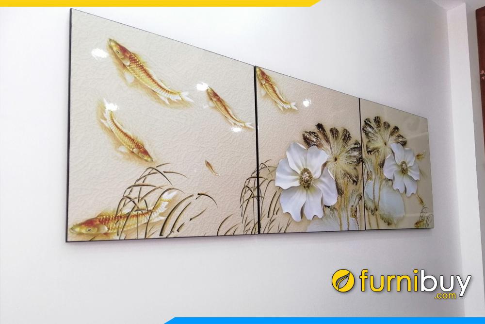 Tranh ca hoa 3D dep mat treo tuong phong khach phong bep