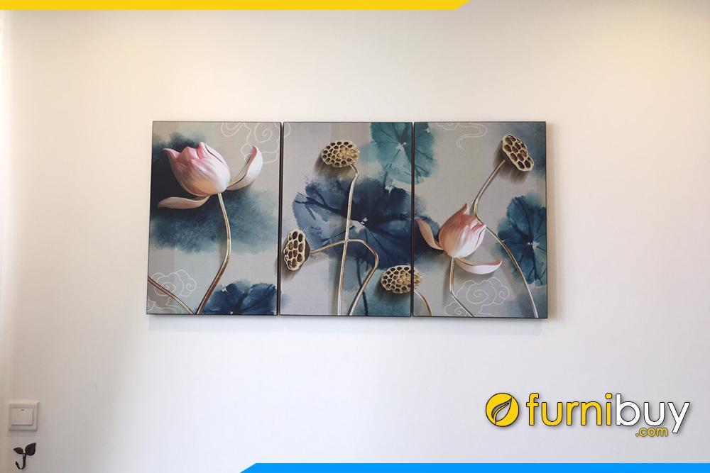 Tranh hoa sen 3D treo tuong chung cu dep