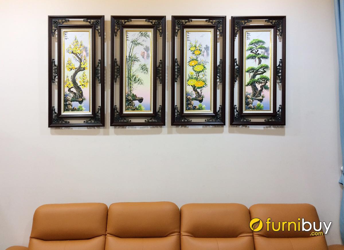 Hình ảnh Tranh tứ quý treo tường phòng khách đẹp sang trọng