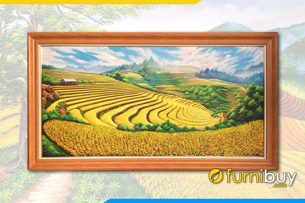 Tranh son dau ruong bac thang lua chin vang TSD 428