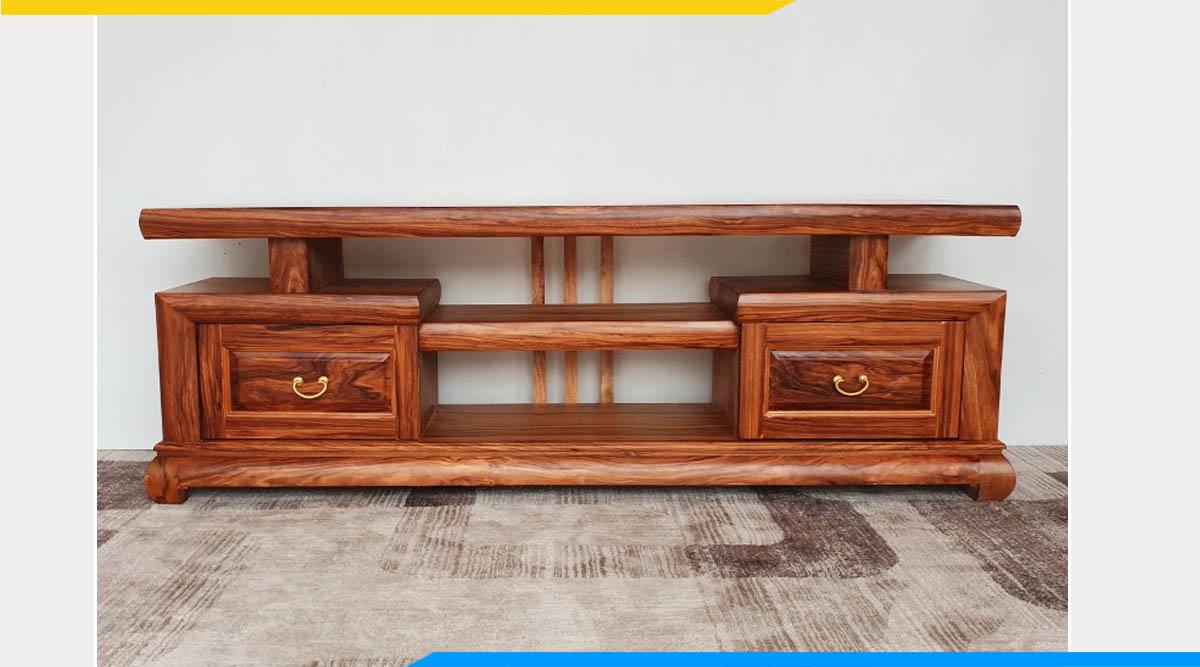 Hình ảnh Mẫu kệ tivi gỗ hương xám hiện đại đẹp