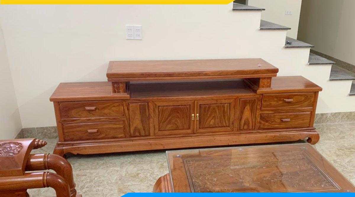 Hình ảnh Kệ tivi hiện đại gỗ hương đá phòng khách